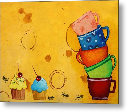 Journal Metal Print featuring the painting Kitchen Deco by Nirdesha Munasinghe