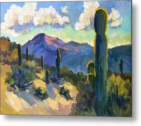 Late Afternoon Metal Print featuring the painting Late Afternoon Tucson by Diane McClary