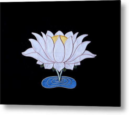 Lotusflower Metal Print featuring the tapestry - textile Lotus by Leslie Rinchen-Wongmo