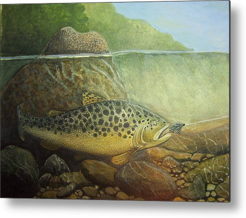 Rick Huotari Metal Print featuring the painting Lurking by Rick Huotari