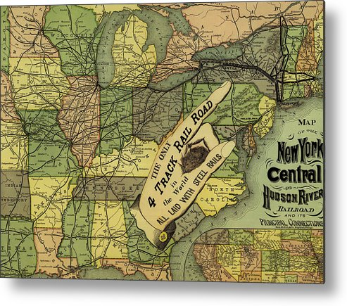 Map Metal Print featuring the drawing Map Of New York Central And Hudson River Railroad Routes 1876 by Mountain Dreams