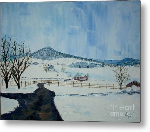 Mole Hill; Snow; Dark Driveway In Foreground Metal Print featuring the painting March Snow On Mole Hill - Sold by Judith Espinoza