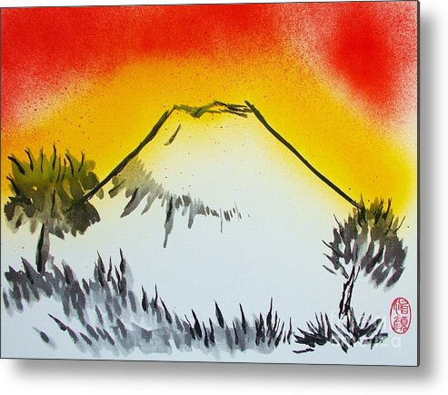 Original Metal Print featuring the painting Mount Fuji At Daybreak by Roberto Prusso