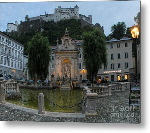Metal Print featuring the photograph Neptune Fountain In Salzburg Austria by Gregory Dyer