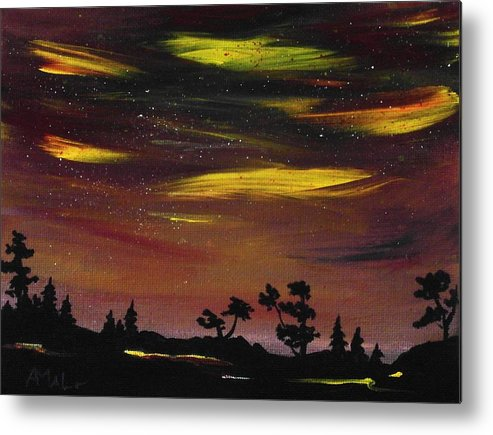 Calm Metal Print featuring the painting Night Scene by Anastasiya Malakhova