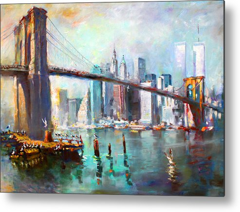 Nyc Metal Print featuring the painting Ny City Brooklyn Bridge II by Ylli Haruni