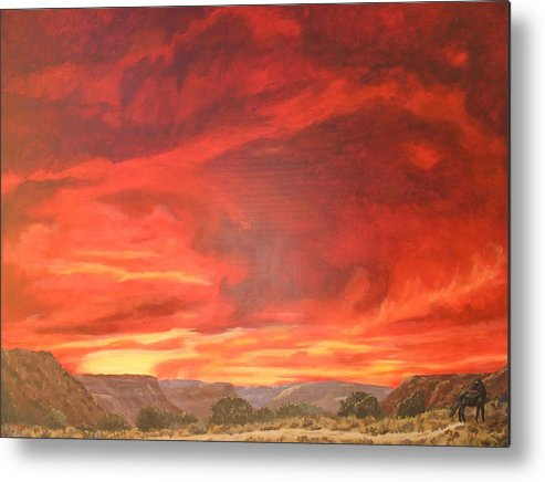 Western Metal Print featuring the painting One Last Look by Janis Mock-Jones