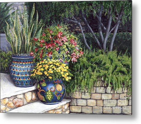 Floral Metal Print featuring the painting Painted Pots by Mary Palmer