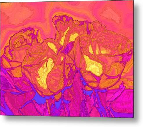 Abstract Metal Print featuring the digital art Passion's Petals by Wendy J St Christopher