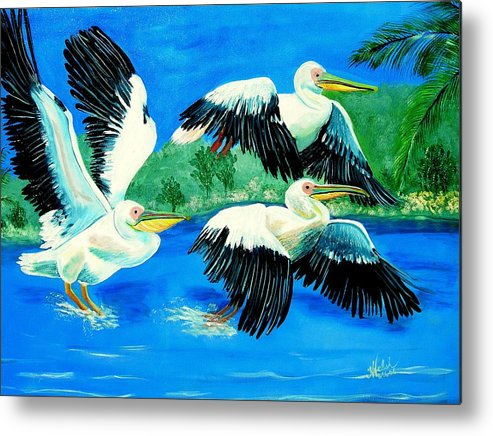 Pelican Metal Print featuring the painting Pelican Trio by Kathern Welsh