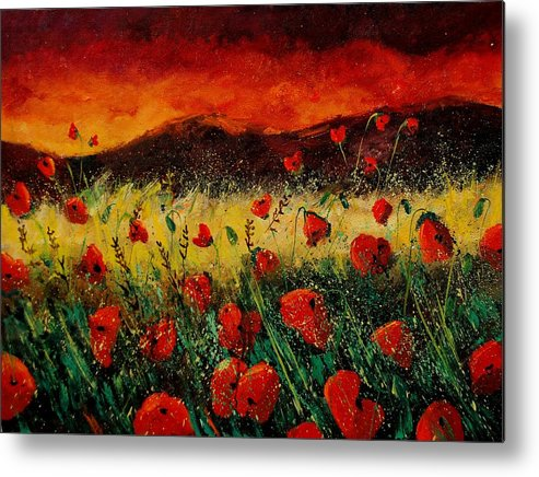 Poppies Metal Print featuring the painting Poppies 68 by Pol Ledent