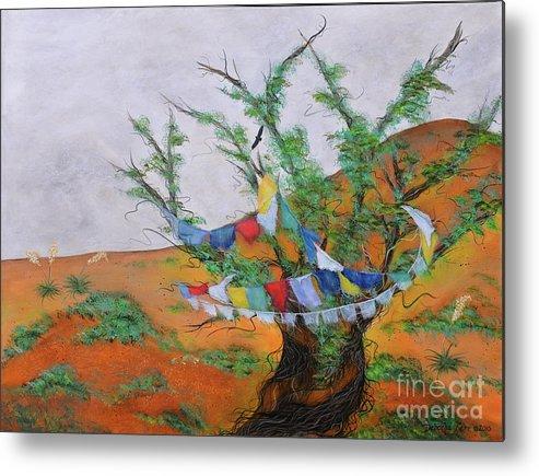 Sacred Art Painting Metal Print featuring the painting Prayer Flags by Deborha Kerr