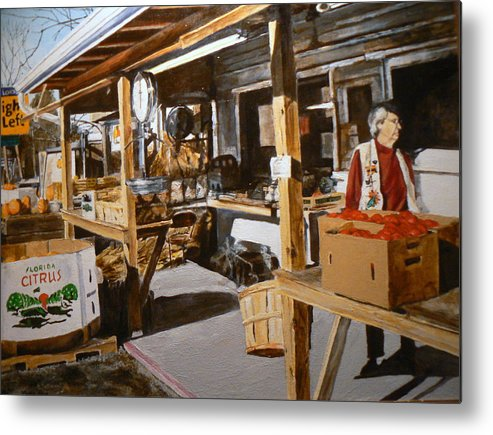 Rural Life Metal Print featuring the painting Produce Market by Thomas Akers