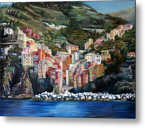 Cinque Terre Metal Print featuring the painting Riomaggiore Glory- Cinque Terre by Jennifer Lycke