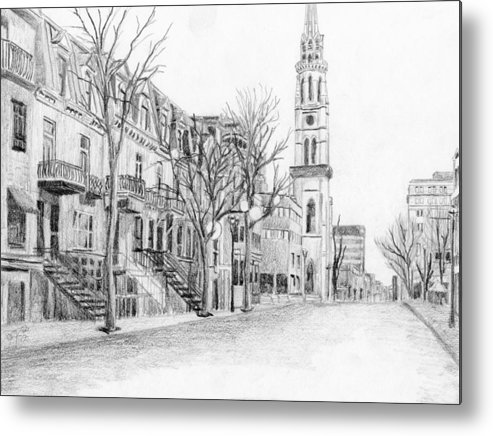 Cityscape Metal Print featuring the drawing Rue St-denis by Duane Gordon
