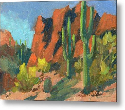 Saguaro Cactus Metal Print featuring the painting Saguaro Cactus 1 by Diane McClary