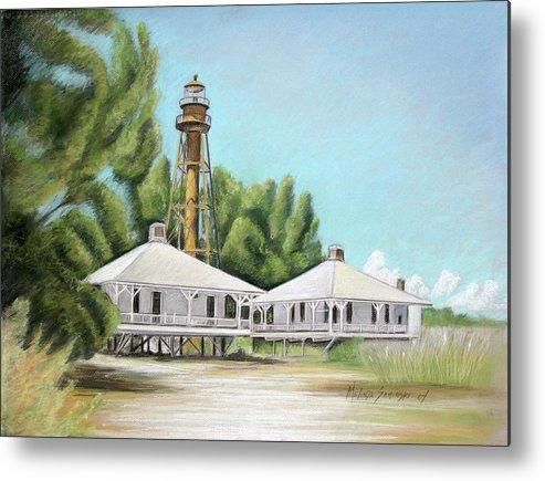 Sanibel Island Lighthouse Metal Print featuring the painting Sanibel Lighthouse by Melinda Saminski