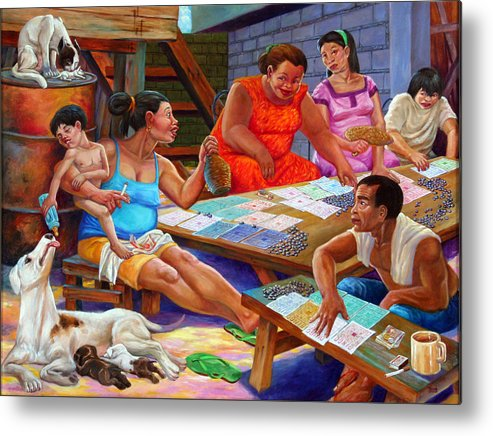 Tednicolao Camahalan Metal Print featuring the painting Si Muning Si Bantay At Si Inay by Tednicolao Camahalan