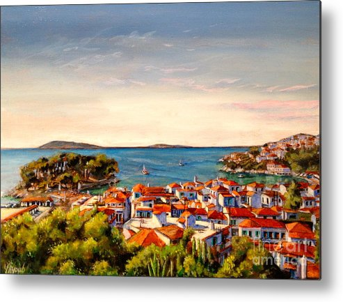 Greece Metal Print featuring the painting Skiathos Panorama by Yvonne Ayoub