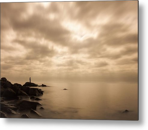 lake Superior great Lake human Element small.. Me Metal Print featuring the photograph Small... by Mary Amerman