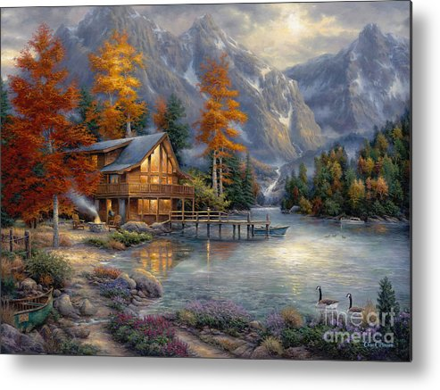 Mountain Cabin Metal Print featuring the painting Space For Reflection by Chuck Pinson