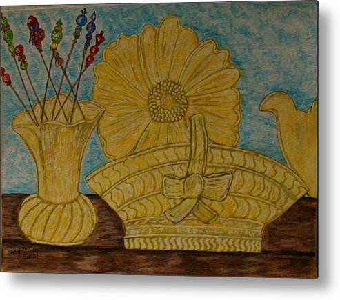Stangl Pottery Metal Print featuring the painting Stangl Pottery Satin Yellow Pattern And Vintage Hat Pins by Kathy Marrs Chandler