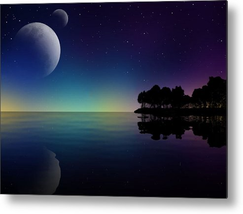 Landscape Metal Print featuring the digital art Starry Night by Gayle Storm