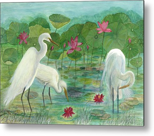 Lily Pads; Egrets; Low Country Metal Print featuring the painting Summer Trilogy by Ben Kiger
