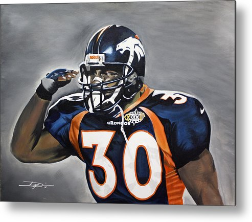 Td Metal Print featuring the drawing Terrell Davis by Don Medina