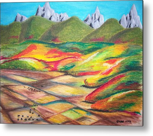 Valley Metal Print featuring the drawing Tetonia Autumn by Daav Corbet