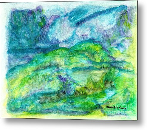 Abstract Metal Print featuring the painting The Eydes Of March by Myrtle Joy