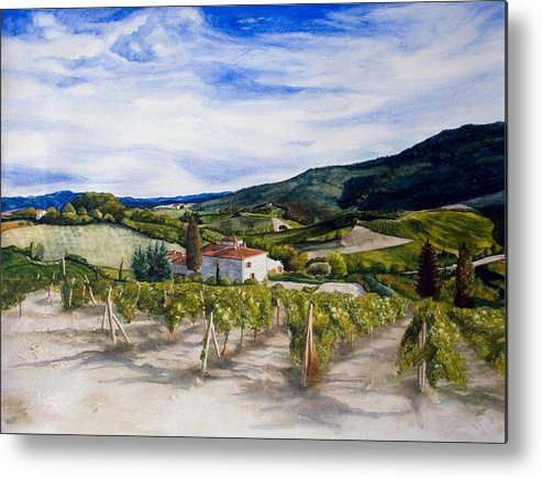 Landscape Metal Print featuring the painting The Hills Of Tuscany by Monika Degan