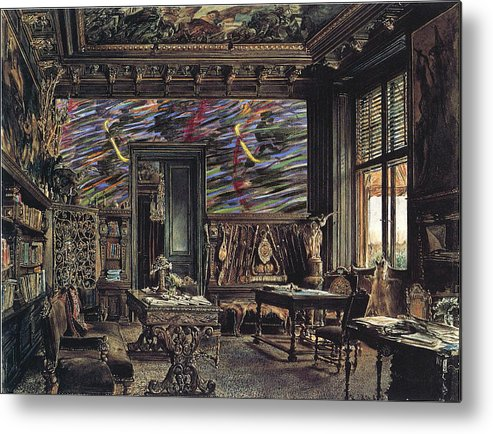 Classic Art With A Change. Metal Print featuring the digital art The Library In The Palais Dumba-1877 by Rudolf von Alt