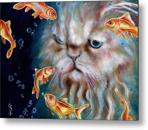 Cat Metal Print featuring the painting The Other Side Of Midnight by Hiroko Sakai