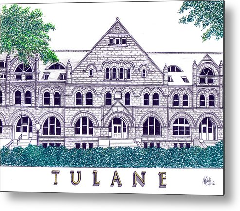 Pen And Ink Drawings Metal Print featuring the drawing Tulane by Frederic Kohli