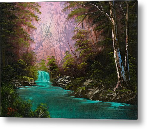 Landscape Metal Print featuring the painting Turquoise Waterfall by C Steele