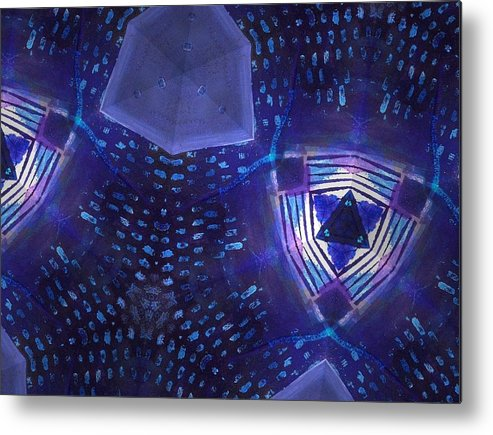 Digital Metal Print featuring the digital art Vibrant Shades Of Blue 7 by Rick Hurst