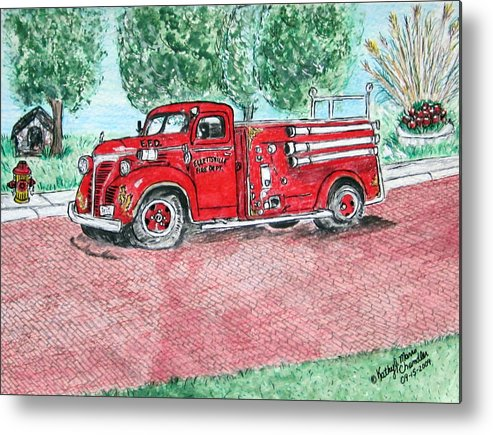 Firetruck Metal Print featuring the painting Vintage Firetruck by Kathy Marrs Chandler