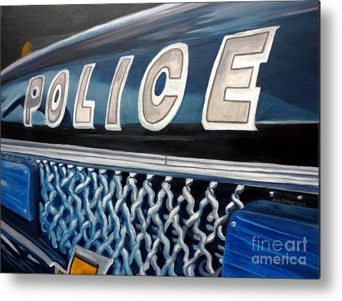Police Metal Print featuring the painting Whatcha Gonna Do When They Come For You? by Julie Brugh Riffey