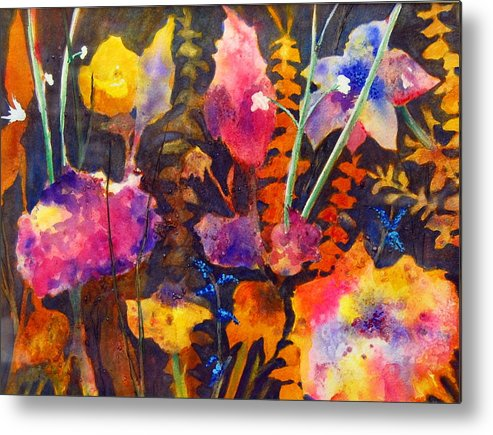 Abstract Floral Metal Print featuring the painting Wild Cottage Garden by Henny Dagenais