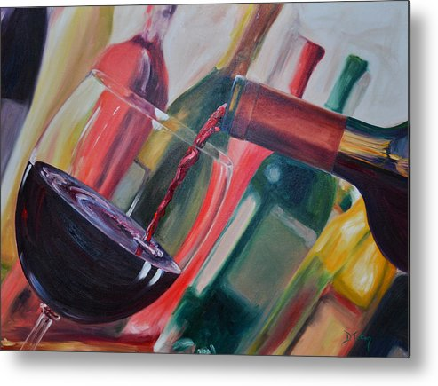 Wine Metal Print featuring the painting Wine Pour IIi by Donna Tuten