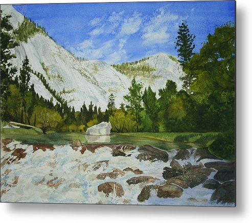 Landscape Metal Print featuring the painting Yosemite Park by Monika Degan