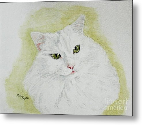 Cat Metal Print featuring the painting Henri by Mary Rogers