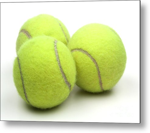 Tennis Ball Metal Print featuring the photograph Tennis Balls by Blink Images