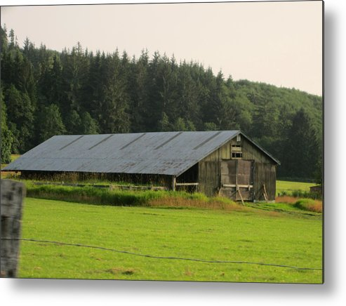 Nice Barn Metal Print featuring the photograph Barn And Barbwire by Kym Backland
