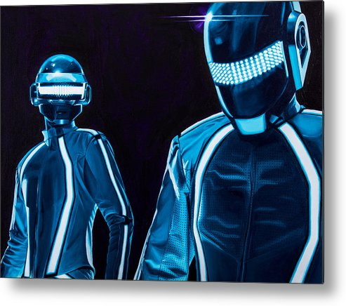 Tron Metal Print featuring the painting Daft Punk by Ellen Patton
