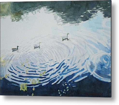 Ducks Metal Print featuring the painting Disturbance by Chae Min Shim