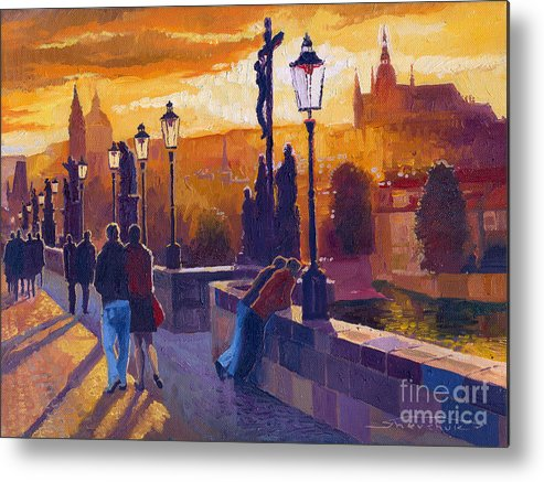 Oil On Canvas Metal Print featuring the painting Golden Prague Charles Bridge Sunset by Yuriy Shevchuk