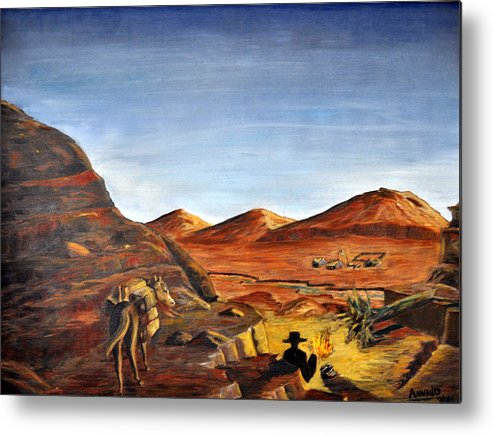 Desert Metal Print featuring the painting Jackass Flats by AnnaJo Vahle