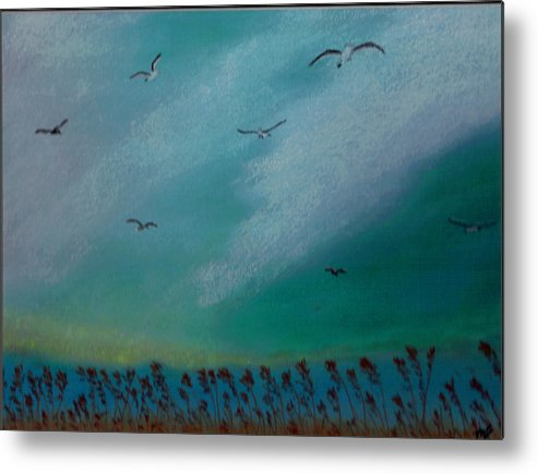 Seagulls Metal Print featuring the painting Seagulls by Marilyn Ferguson